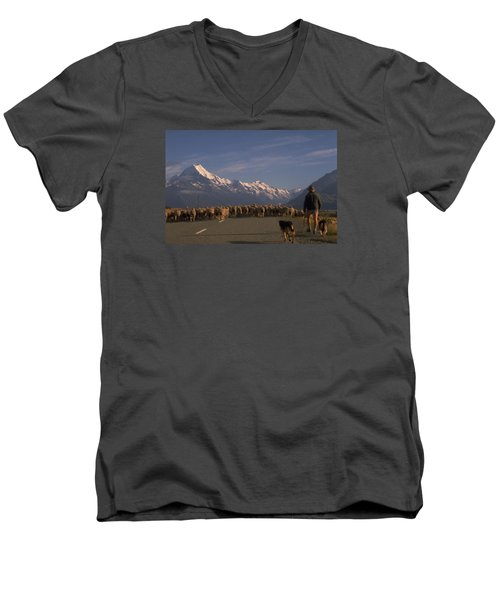 New Zealand Mt Cook Men's V-Neck T-Shirt by Travel Pics