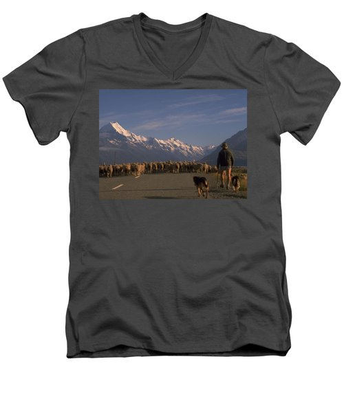 New Zealand Mt Cook Men's V-Neck T-Shirt