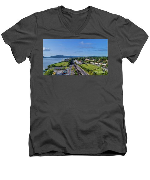 Newburgh Waterfront Looking South 4 Men's V-Neck T-Shirt