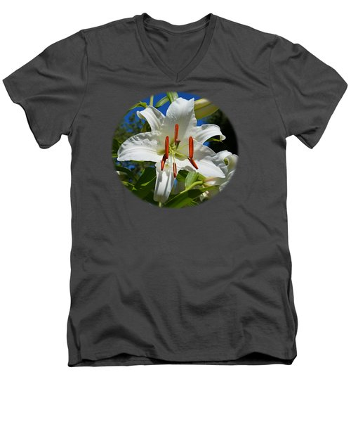 Men's V-Neck T-Shirt featuring the photograph Newly Opened Lily by Nick Kloepping