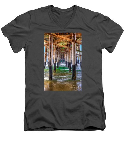 Newport Beach Pier - Summertime Men's V-Neck T-Shirt by Jim Carrell