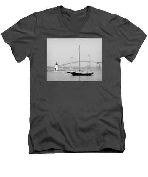 Newport, Rhode Island Serene Harbor Scene Men's V-Neck T-Shirt