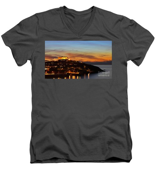 Newquay Harbor At Night Men's V-Neck T-Shirt