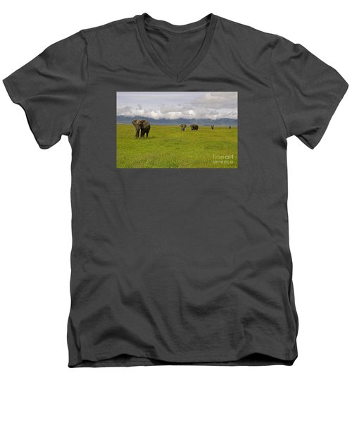 Men's V-Neck T-Shirt featuring the photograph Ngorongoro Elephants-signed-#0135 by J L Woody Wooden