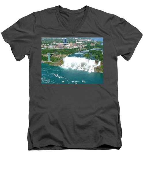 Men's V-Neck T-Shirt featuring the photograph Niagara American And Bridal Veil Falls  by Charles Kraus