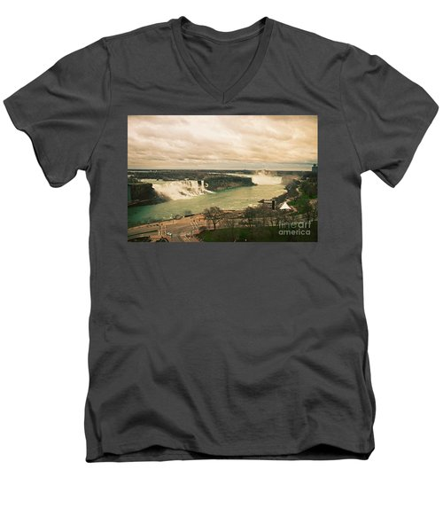 Men's V-Neck T-Shirt featuring the photograph Niagara Falls by Mary Machare