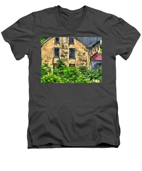 Men's V-Neck T-Shirt featuring the mixed media Niccolo by Trish Tritz