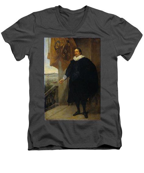 Nicolaes Van Der Borght, Merchant Of Antwerp Men's V-Neck T-Shirt