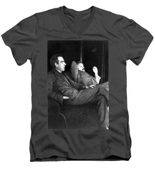 Niels Bohr And Albert Einstein Men's V-Neck T-Shirt