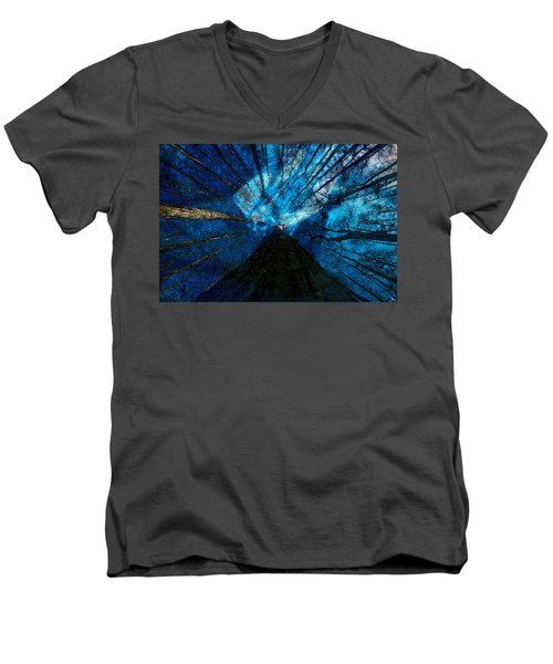 Men's V-Neck T-Shirt featuring the painting Night Angel by David Lee Thompson
