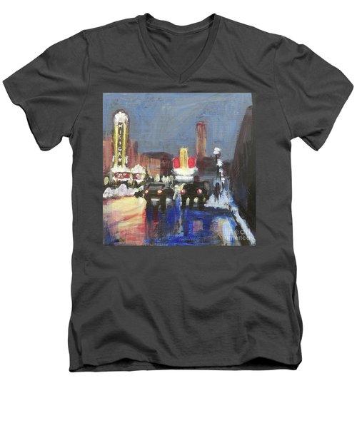 Night Around Michigan Theater Men's V-Neck T-Shirt