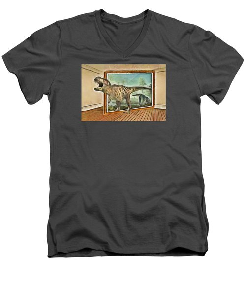 Men's V-Neck T-Shirt featuring the painting Night At The Art Gallery - T Rex Escapes by Wayne Pascall