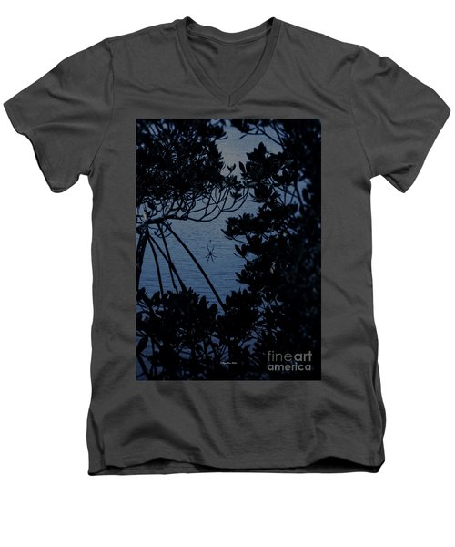 Men's V-Neck T-Shirt featuring the photograph Night Banana Spider by Megan Dirsa-DuBois