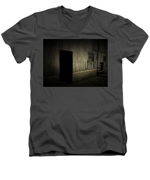 Men's V-Neck T-Shirt featuring the photograph Night Barn by Cynthia Lassiter