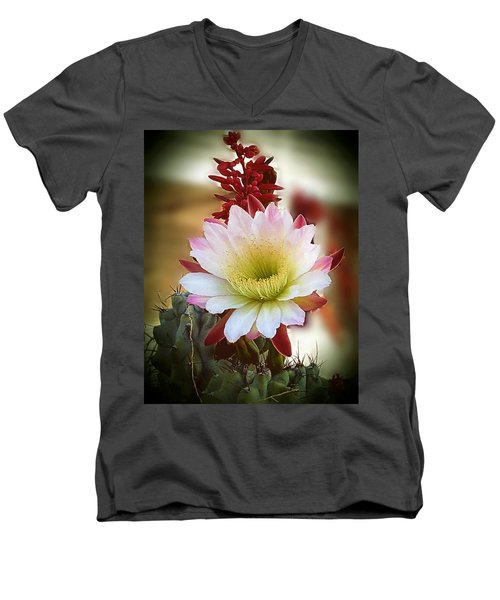 Men's V-Neck T-Shirt featuring the photograph Night-blooming Cereus 2 by Marilyn Smith