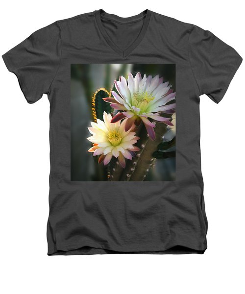 Men's V-Neck T-Shirt featuring the photograph Night-blooming Cereus 3 by Marilyn Smith