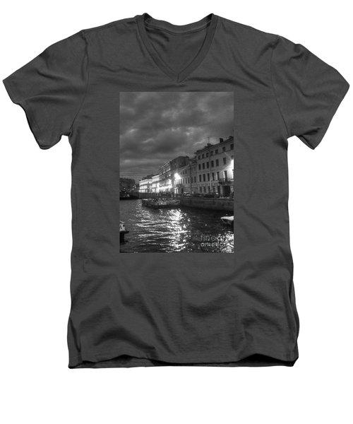 Night City Peterburg Men's V-Neck T-Shirt by Yury Bashkin