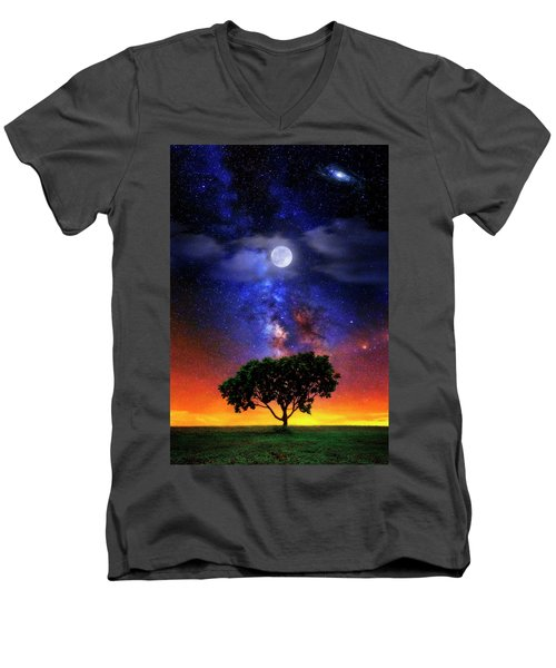 Night Colors Men's V-Neck T-Shirt by Justin Kelefas