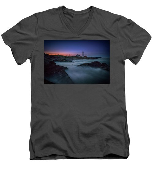 Men's V-Neck T-Shirt featuring the photograph Night Falls On Portland Head by Rick Berk