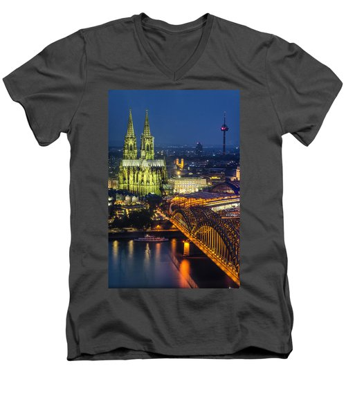 Night Falls Upon Cologne 1 Men's V-Neck T-Shirt