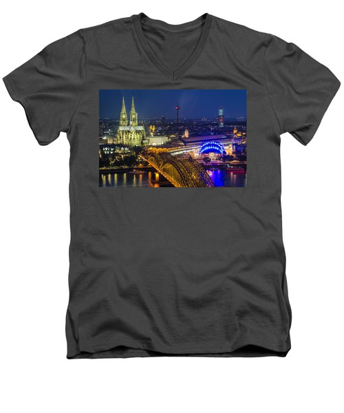 Night Falls Upon Cologne 2 Men's V-Neck T-Shirt