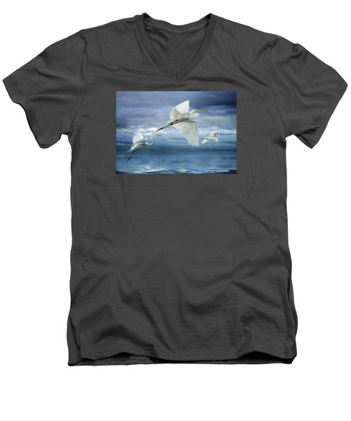 Night Flight Men's V-Neck T-Shirt by Brian Tarr