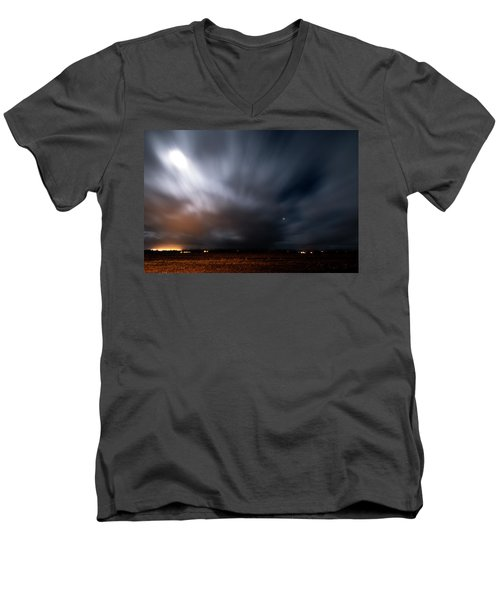 Men's V-Neck T-Shirt featuring the photograph Night In Iceland by Dubi Roman