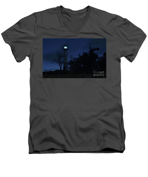 Night Light Kalaupapa Men's V-Neck T-Shirt by Craig Wood