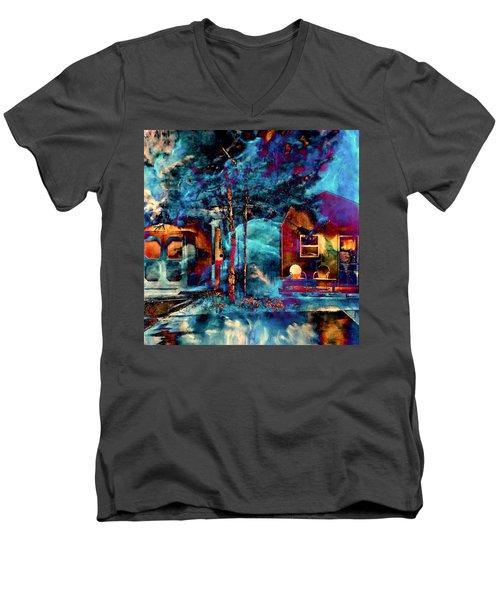 Night Light Men's V-Neck T-Shirt by Theresa Marie Johnson