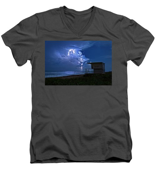 Night Lightning Under Full Moon Over Hobe Sound Beach, Florida Men's V-Neck T-Shirt