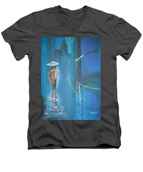 Night Love Walk Men's V-Neck T-Shirt by Raymond Doward