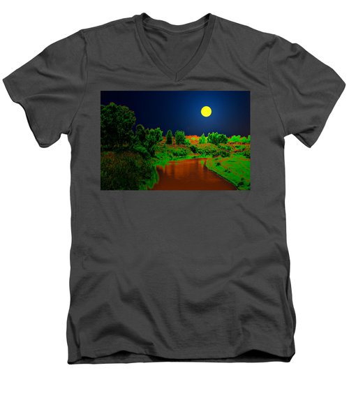 Men's V-Neck T-Shirt featuring the digital art Night Moon And Nature by Bliss Of Art