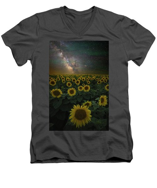 Men's V-Neck T-Shirt featuring the photograph Night Of A Billion Suns by Aaron J Groen