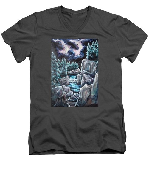 Night Of Stars Men's V-Neck T-Shirt by Cheryl Pettigrew