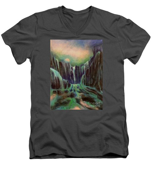 Men's V-Neck T-Shirt featuring the painting Night Of The Fall  by Alison Caltrider