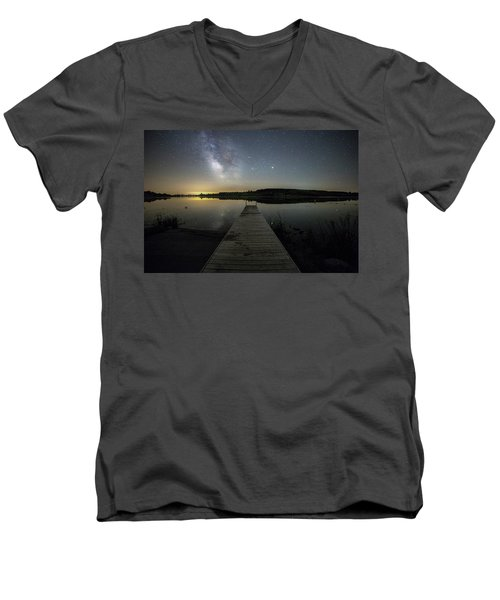 Men's V-Neck T-Shirt featuring the photograph Night On The Dock by Aaron J Groen