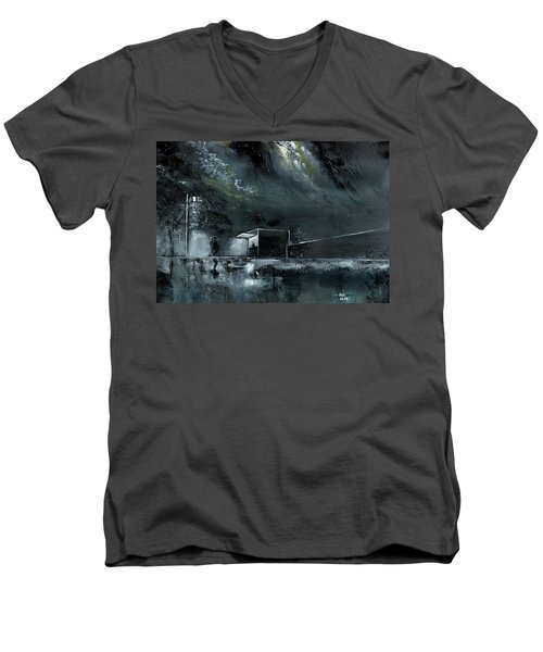 Men's V-Neck T-Shirt featuring the painting Night Out by Anil Nene