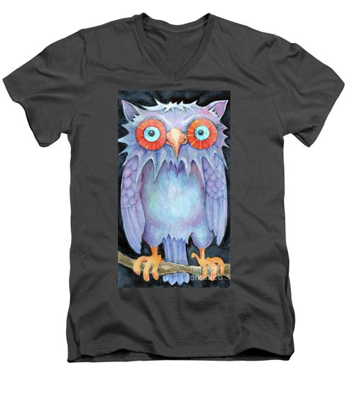 Men's V-Neck T-Shirt featuring the painting Night Owl by Lora Serra