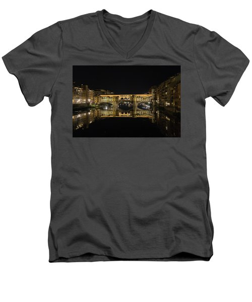 Night Reflections Of The Ponte Vecchio Men's V-Neck T-Shirt