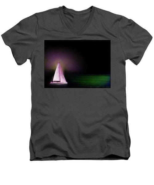 Night Sailing Men's V-Neck T-Shirt by Michael Cleere