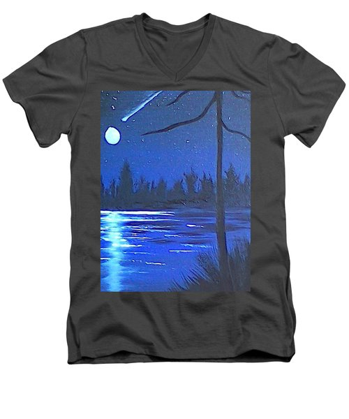 Night Scene Men's V-Neck T-Shirt by Brenda Bonfield