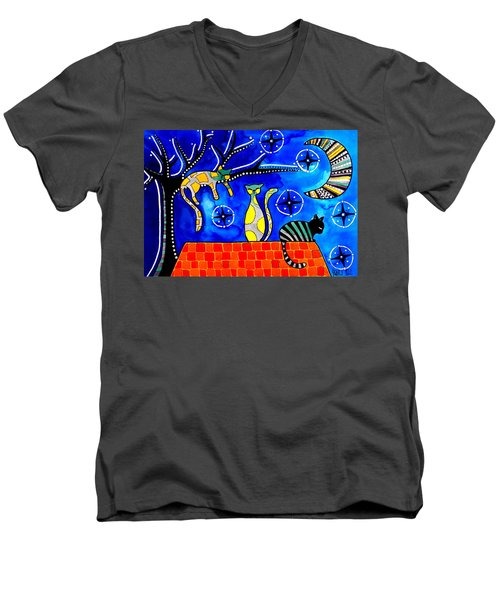 Men's V-Neck T-Shirt featuring the painting Night Shift - Cat Art By Dora Hathazi Mendes by Dora Hathazi Mendes