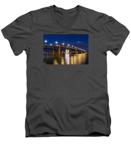 Night Shot Of The Pont Saint-pierre Men's V-Neck T-Shirt by Semmick Photo