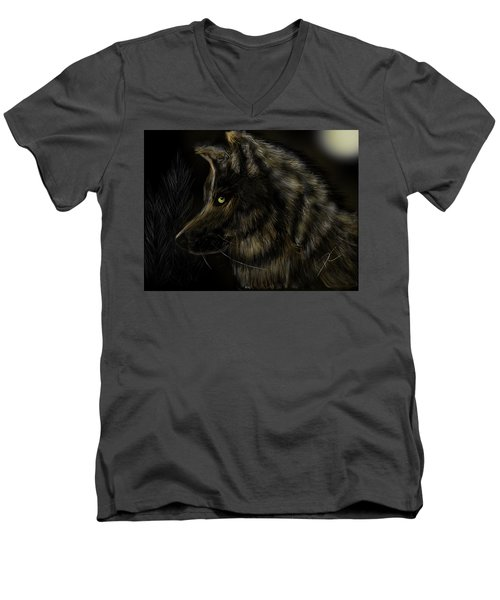 Night Silent Wolf Men's V-Neck T-Shirt