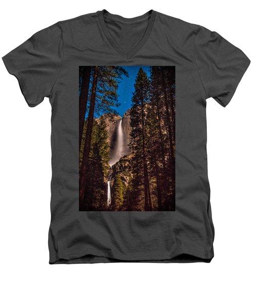 Night Sky At Yosemite Falls Men's V-Neck T-Shirt