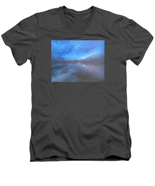 Men's V-Neck T-Shirt featuring the painting Night Sky by Jane See