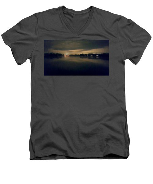 Night Sky Over Lake With Clouds Men's V-Neck T-Shirt