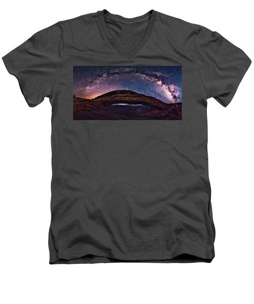 Night Sky Over Mesa Arch Utah Men's V-Neck T-Shirt