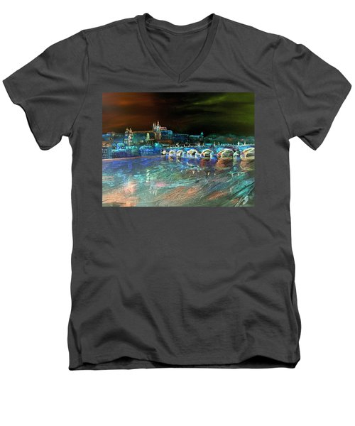 Men's V-Neck T-Shirt featuring the mixed media Night Sky Over Prague by Elizabeth Lock