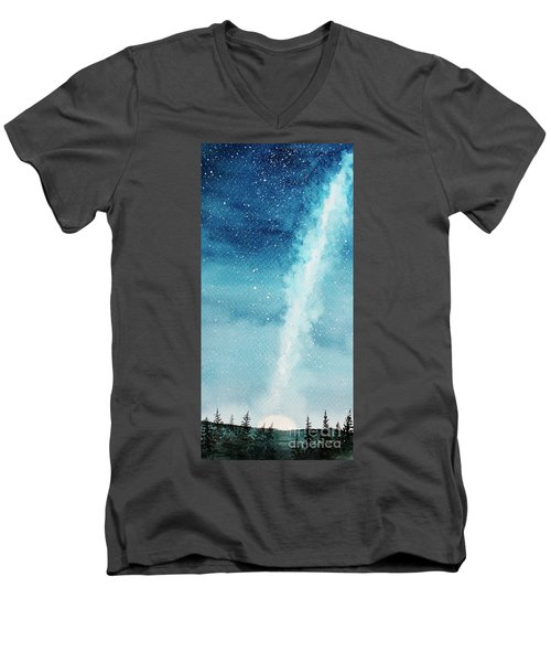 Night Sky Men's V-Neck T-Shirt by Rebecca Davis
